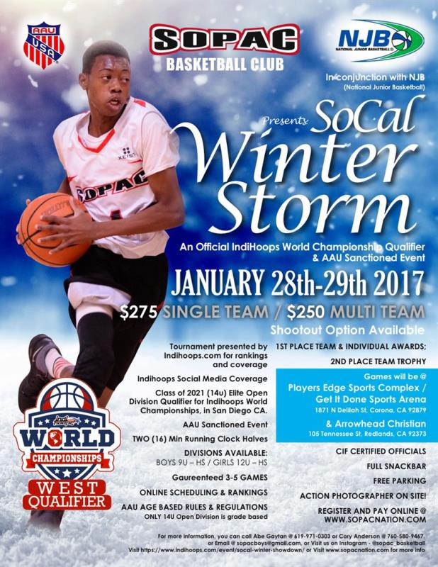 SoCal Winter Storm an Official Indihoops World Championship West Coast Qualifier